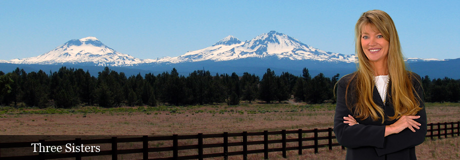 Three Sisters Cascade Mountains from Highway 20 near Tumalo Oregon, Deschutes County by Pam Lester Real Estate